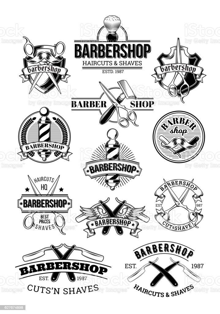 Vector set of barbershop logos, signage vector art illustration