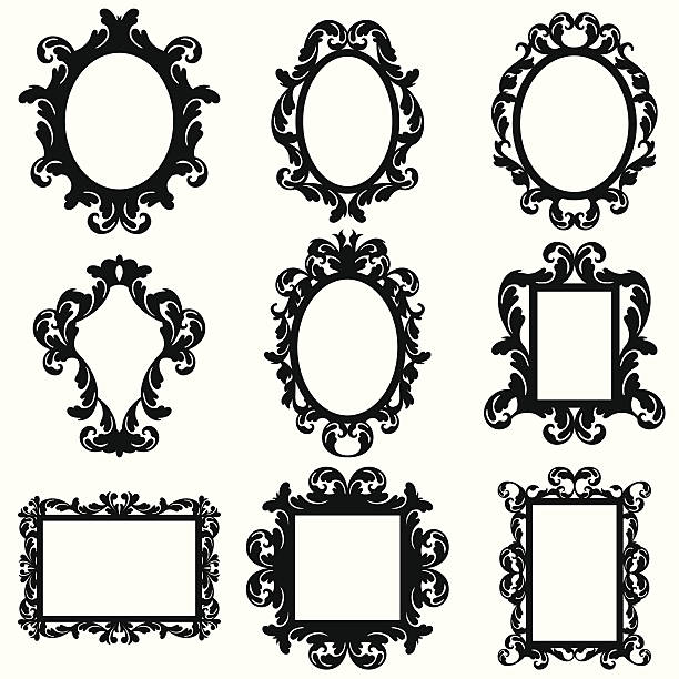 Vector Set of Baroque Frame Silhouettes Vector Set of Baroque Frame Silhouettes. Large JPG included. No transparencies or gradients used. edwardian style stock illustrations