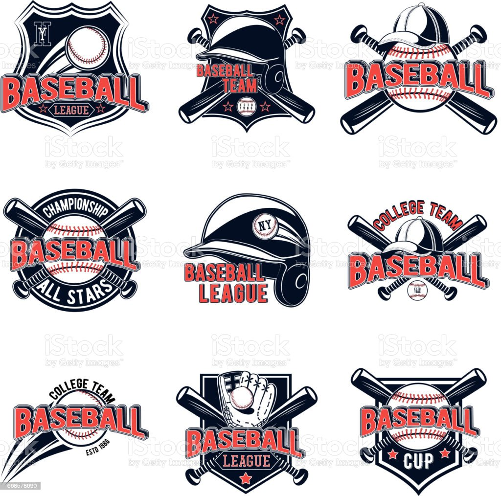 Vector set of baseball logos for your design, advertising, lototype team, print, web isolated on white background vector art illustration