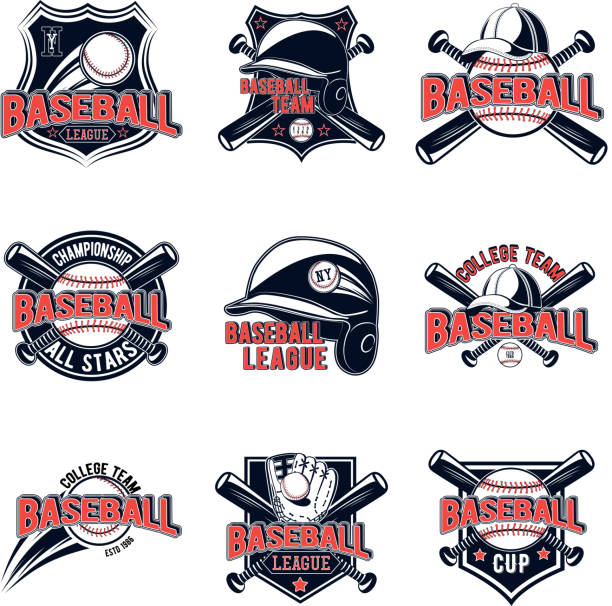 Vector set of baseball logos for your design, advertising, lototype team, print, web isolated on white background vector art illustration