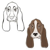 Vector set of  basset hound's face.