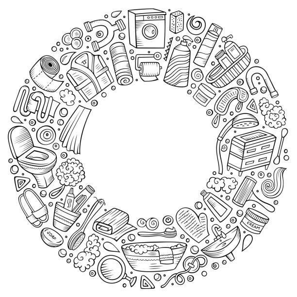 vektor-set von badezimmer cartoon doodle objekte - badezimmer stock-grafiken, -clipart, -cartoons und -symbole