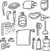 vector set of bathroom equipment