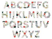 Vector Set of Beautiful Christmas or Winter Holidays Floral Alphabet. No transparencies or gradients used. Large JPG included. Each element is individually grouped for easy editing.
