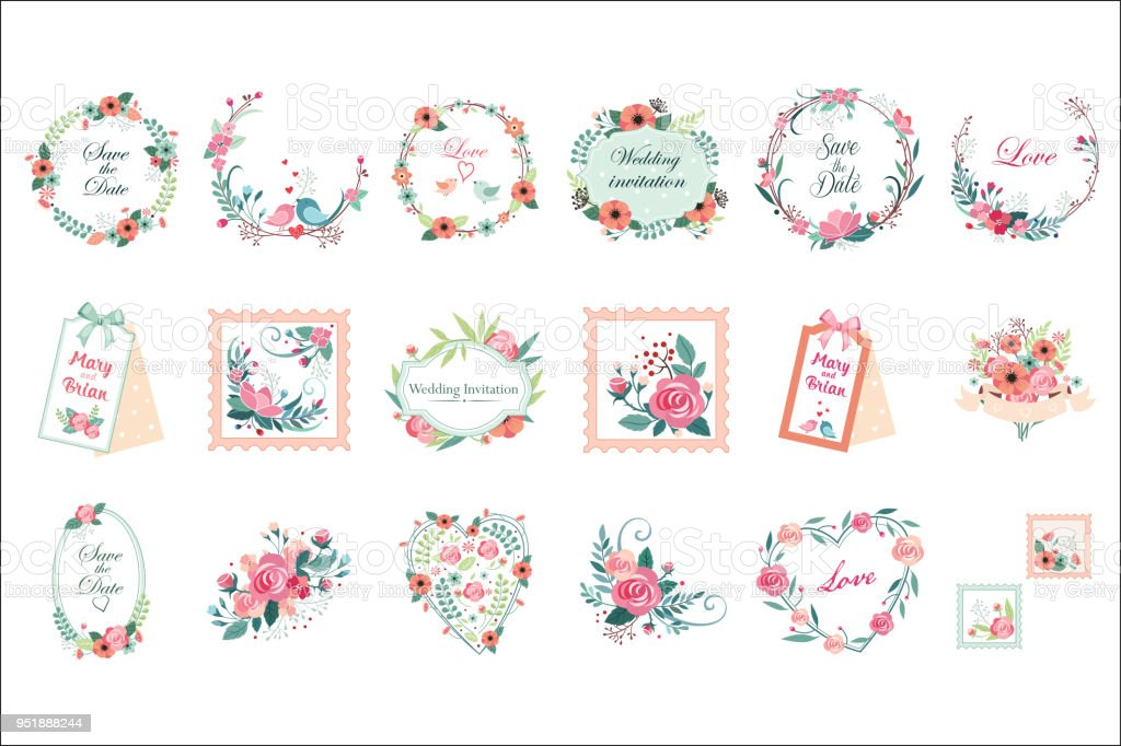 Vector Set Of Beautiful Floral Frames Borders And Labels Save The