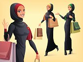 Vector set of beautiful Muslim woman in different poses.