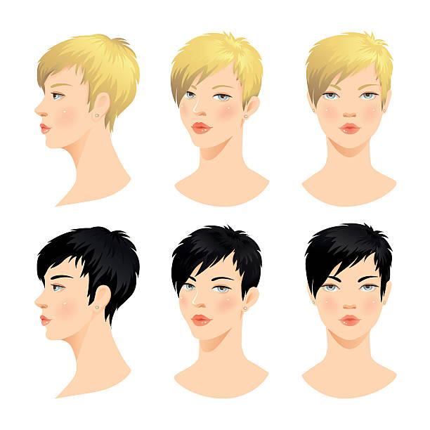 ilustraciones, imágenes clip art, dibujos animados e iconos de stock de vector conjunto de hermosa mujer cara - cabello castaño