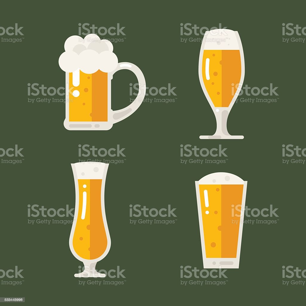 Vector set of beer icons. Beer bottle, glass, pint.