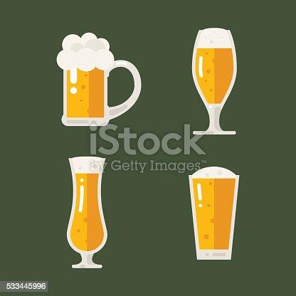 Vector set of beer icons. Beer bottle, glass, pint. Oktoberfest beer vector set. Flat illustration.