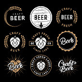 Vector set of beer labels in retro style. Vintage craft beer brewery emblems, icon, stickers and design elements