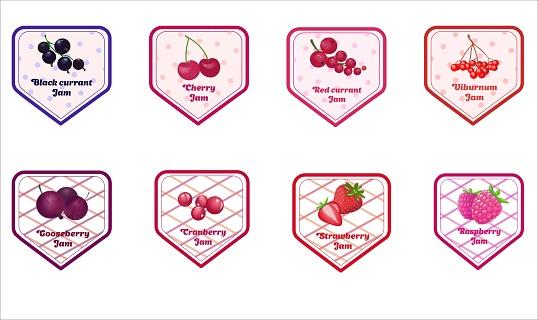 Vector set of berries jam labels