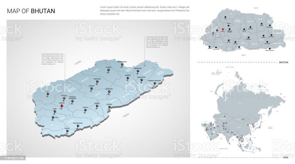 Vector Set Of Bhutan Country Isometric 3d Map Bhutan Map ...