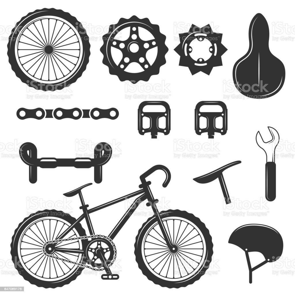 Vector set of bicycle parts isolated icons. Black and white bicycle symbols and design elements vector art illustration