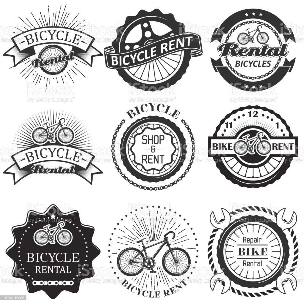 Vector set of bicycle rental badges labels logo