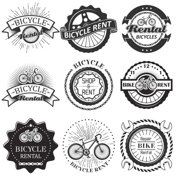 Vector set of bicycle rental badges labels logo Bike rental badge label logo set. Vector monochrome illustration in retro style. Bicycle rent, shop and repair typography. bicycle chain stock illustrations