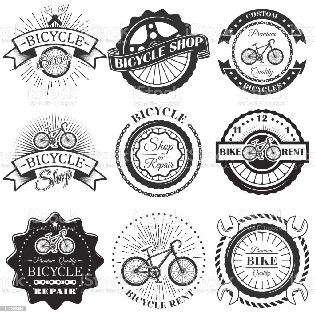 Vector set of bicycle repair shop labels and design elements in vintage black and white style. Bike vector art illustration