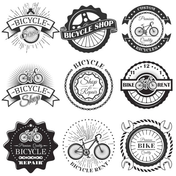 vector set of bicycle repair shop labels and design elements in vintage black and white style. bike - bike stock illustrations, clip art, cartoons, & icons