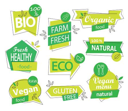 Vector set of bio, eco, organic stickers or logos.