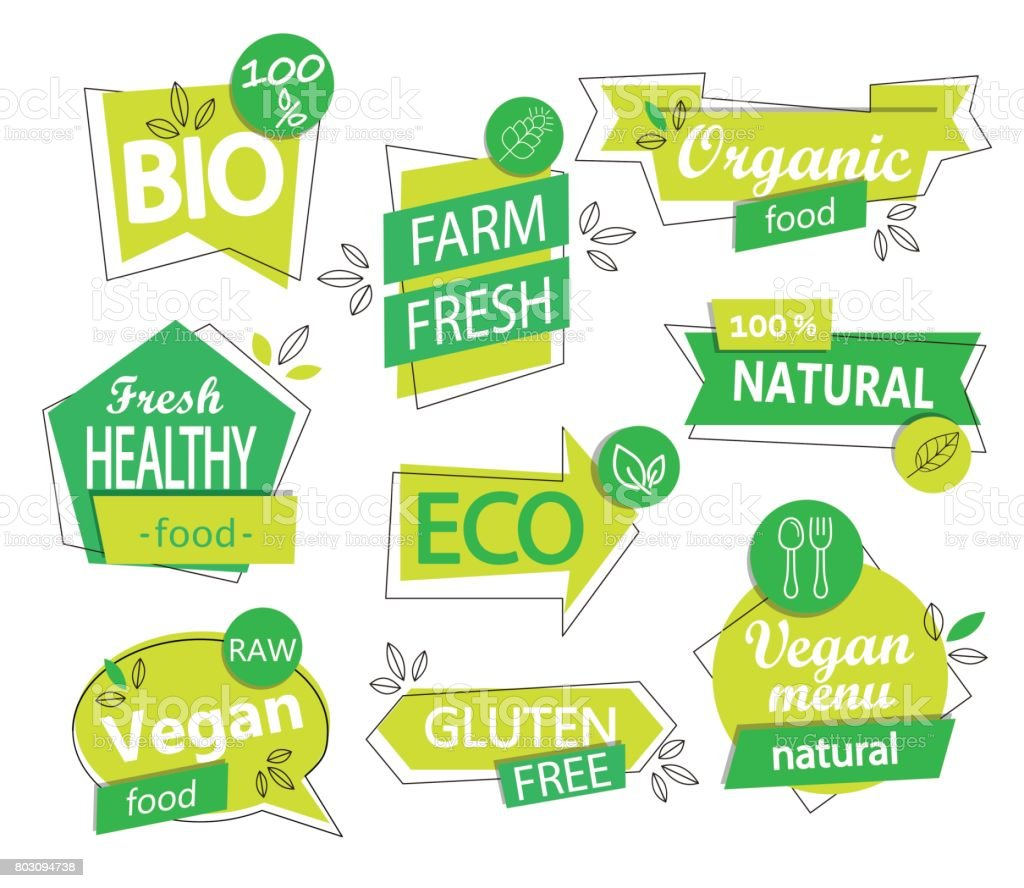 Vector set of bio, eco, organic stickers or logos. - illustrazione arte vettoriale