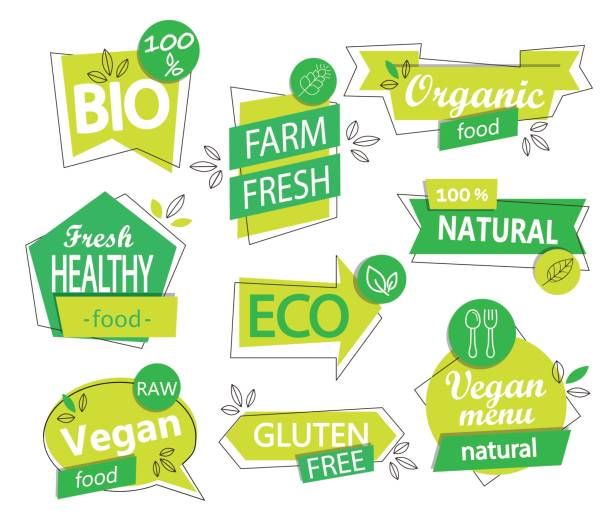 vector set of bio, eco, organic stickers or logos. - organic stock illustrations, clip art, cartoons, & icons