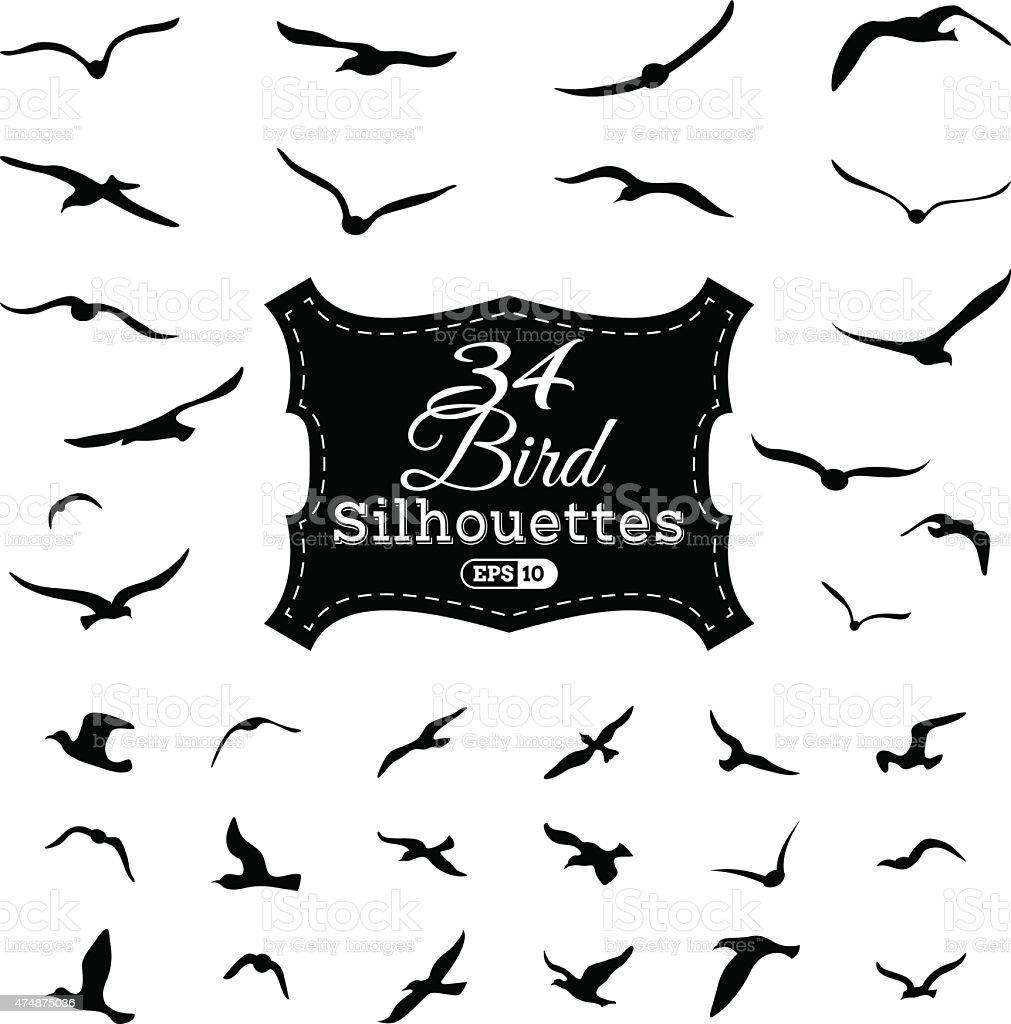 Vector set of bird silhouettes. vector art illustration