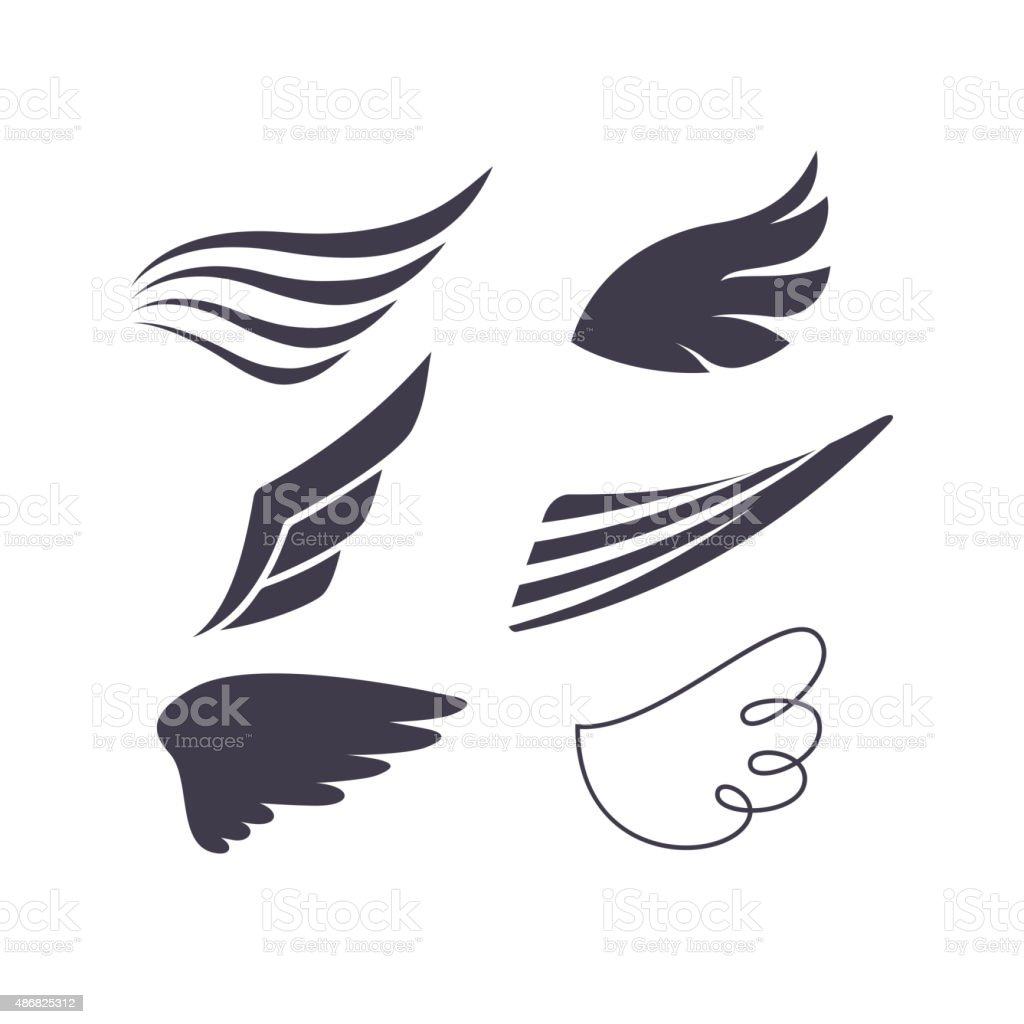 Vector Set of Bird Wings Silhouettes vector art illustration