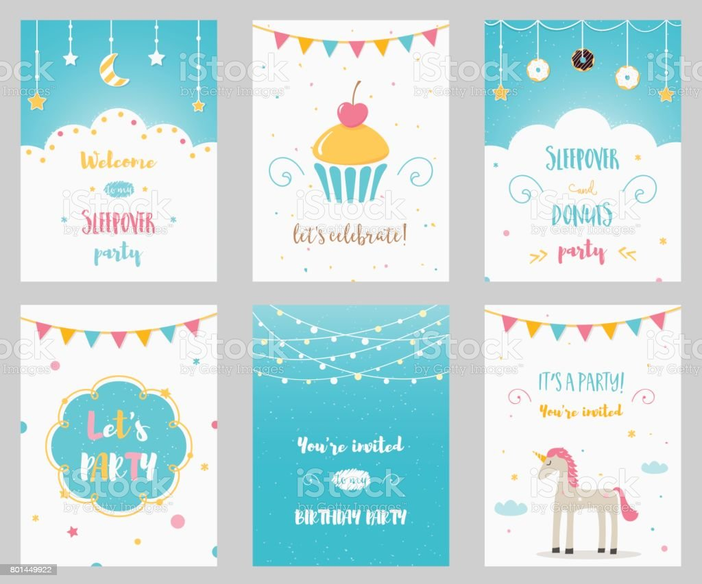 Vector Set Of Birthday And Sleepover Kids Party Invitations Stock