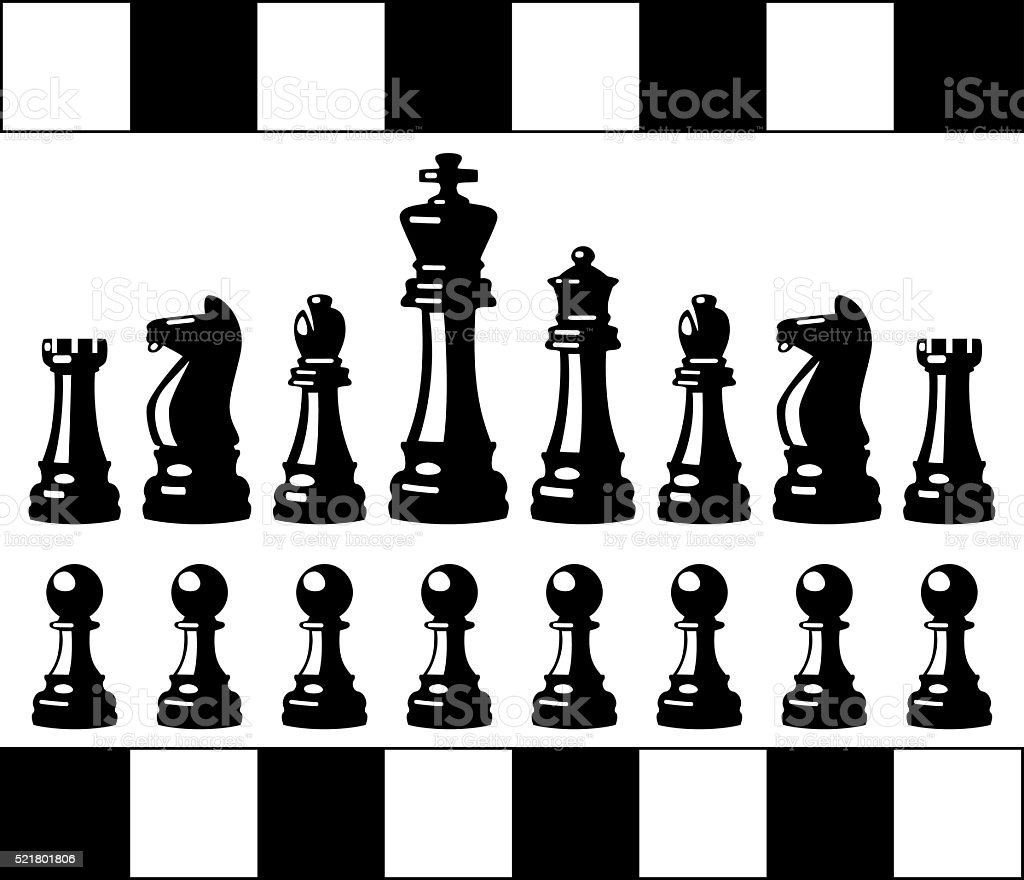 Vector Set Of Black And White Chess Pieces Stock Vector ...