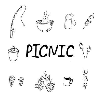 vector set of black and white elements, picnic, fishing on a fishing rod, barbecue