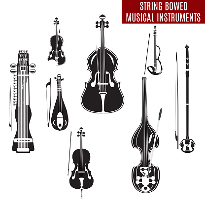 Vector set of black and white string bowed musical instruments