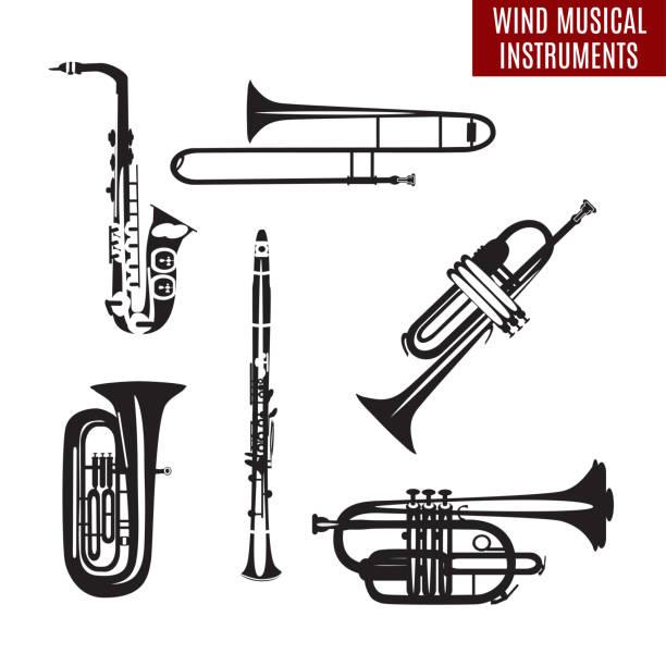 vector set of black and white wind musical instruments - klarnet stock illustrations