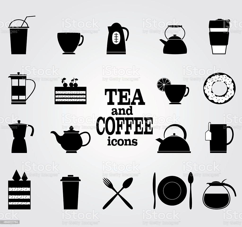 Vektorsatz Von Schwarz Symbole Fur Kaffee Und Tee Stock Vektor Art