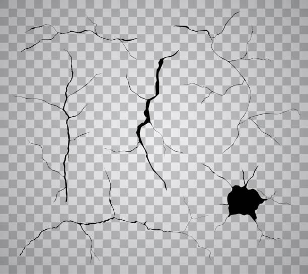 wektor zestaw czarnych pęknięć i otworów izolowanych na przezroczystym tle - popękany stock illustrations