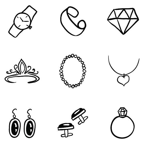 vector set of black doodle jewelry icons - clipart goldene hochzeit stock-grafiken, -clipart, -cartoons und -symbole