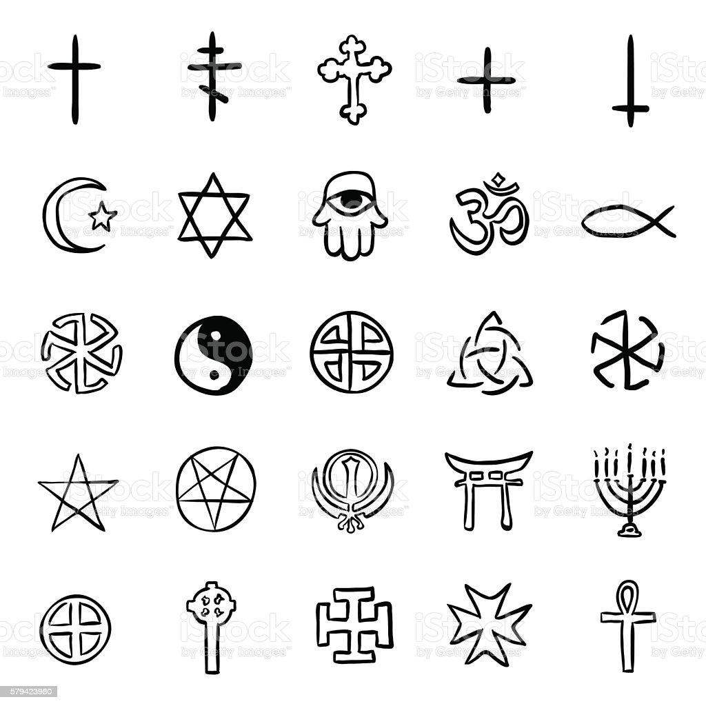 Vector Set Of Black Doodle Religious Symbols Stock Vector Art More