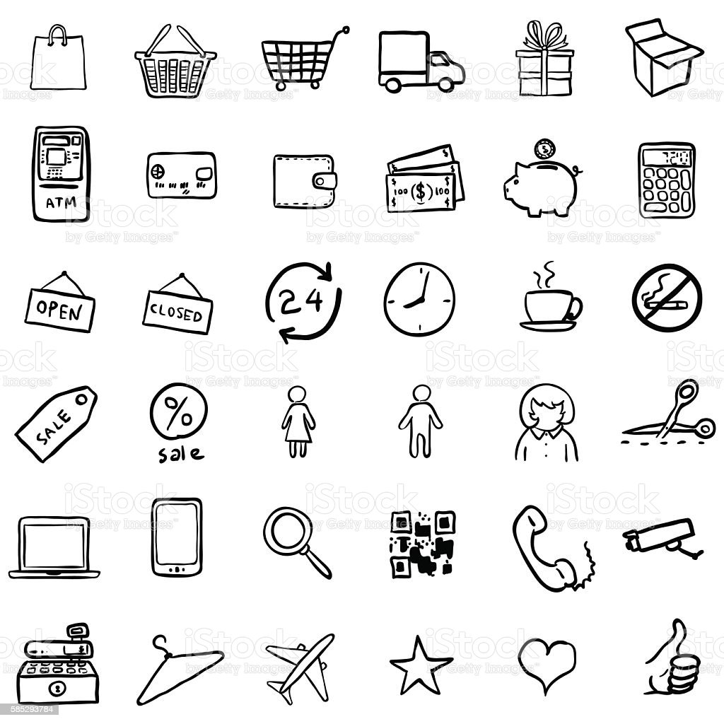 Vector Set Of Black Doodle Shopping Icons vector art illustration