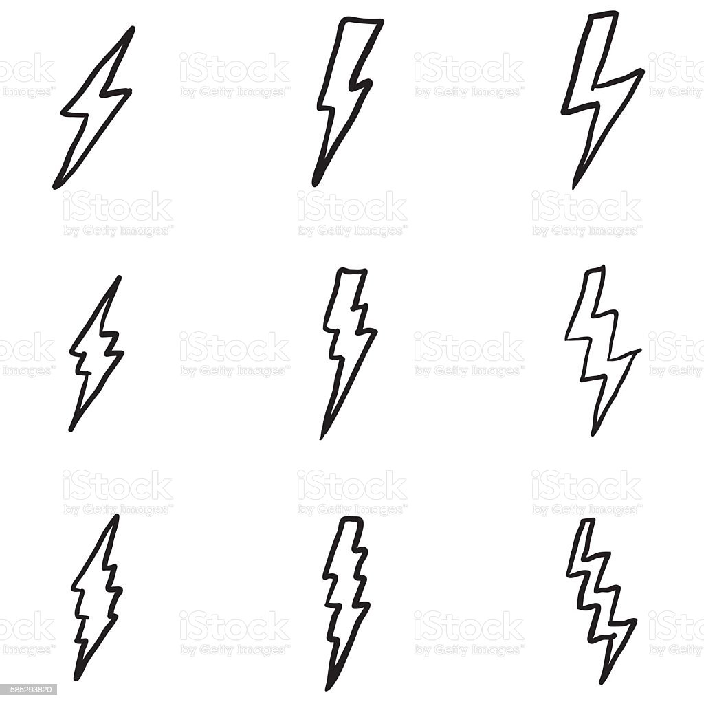 Vector Set of Black Doodle Thunder Lighting Icons vector art illustration