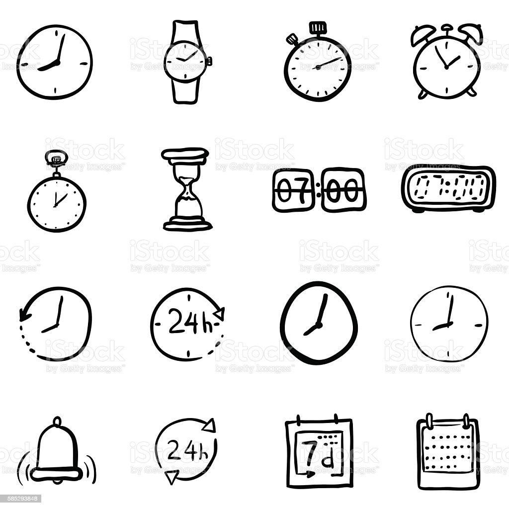 Vector Set of Black Doodle Time Icons vector art illustration