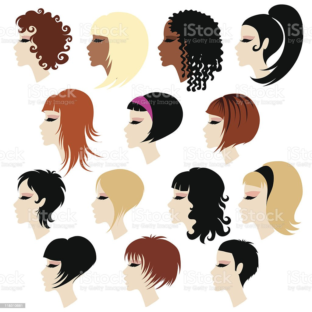 Vector set of black hair styling for woman royalty-free stock vector art