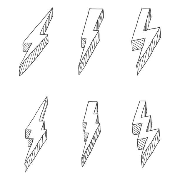 Vector Set of Black Hand Drawn Sketch Thunder Bolt Symbol Vector Set of Hand Drawn Black Sketch Thunder Bolt Symbol forked lightning stock illustrations