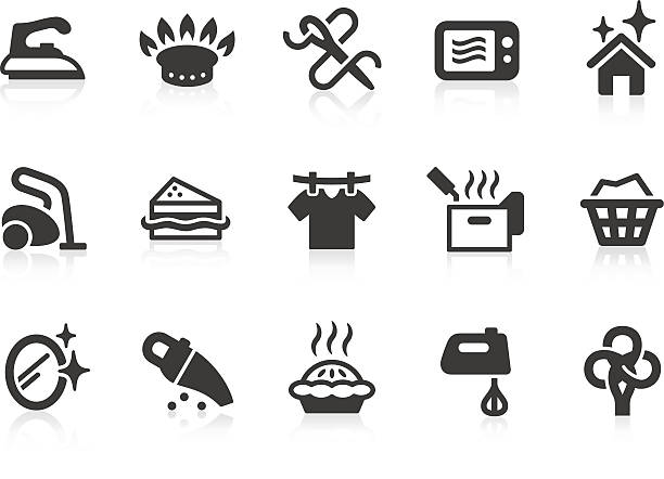 Vector set of black housekeeping icons Housekeeping related vector icons for your design and application. Files included: vector EPS, JPG, PNG. laundry basket stock illustrations