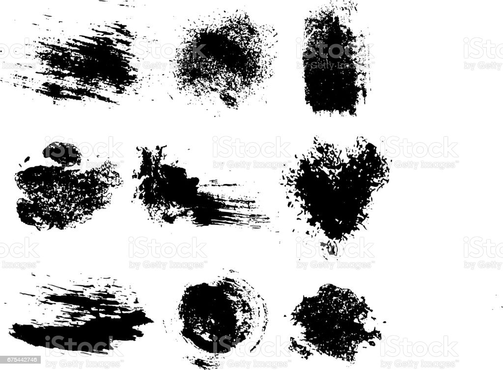 Vector set of black inc blots and brush strokes, isolated on the white background. Series of elements for design. vector art illustration