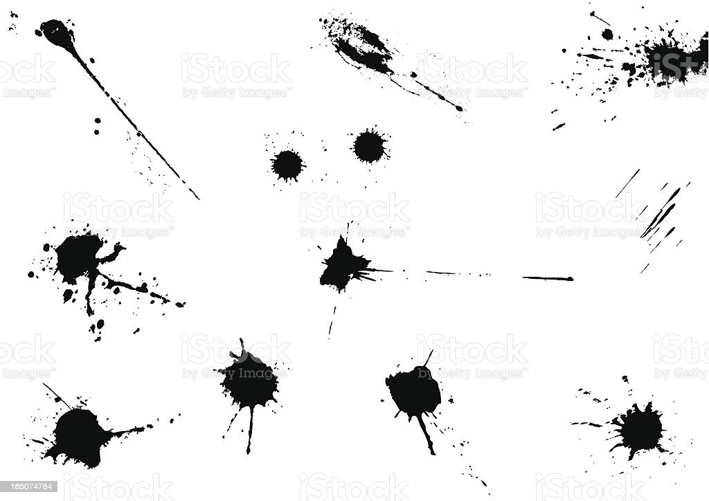 Vector set of black ink drops royalty-free stock vector art