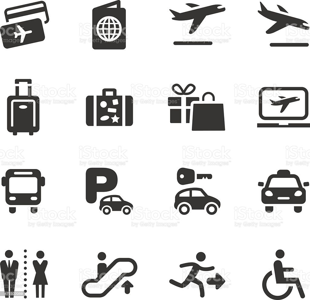 Vector set of black of airport and travel icons royalty-free stock vector art