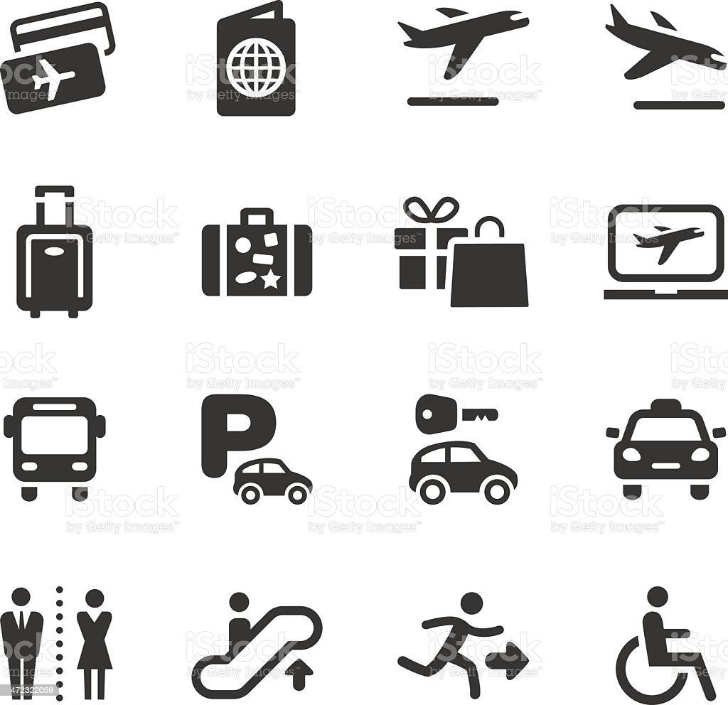 基本-空港、旅行のアイコン ベクターアートイラスト