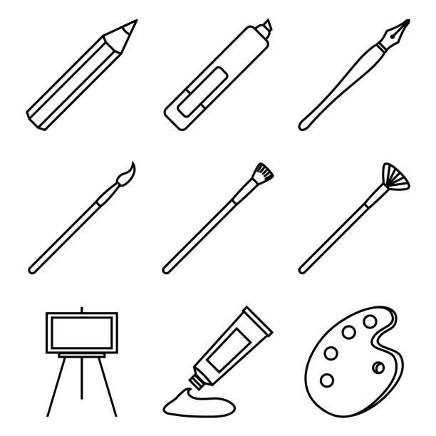 vector set of black outline art icons. painting and writing tools - pióro wieczne stock illustrations