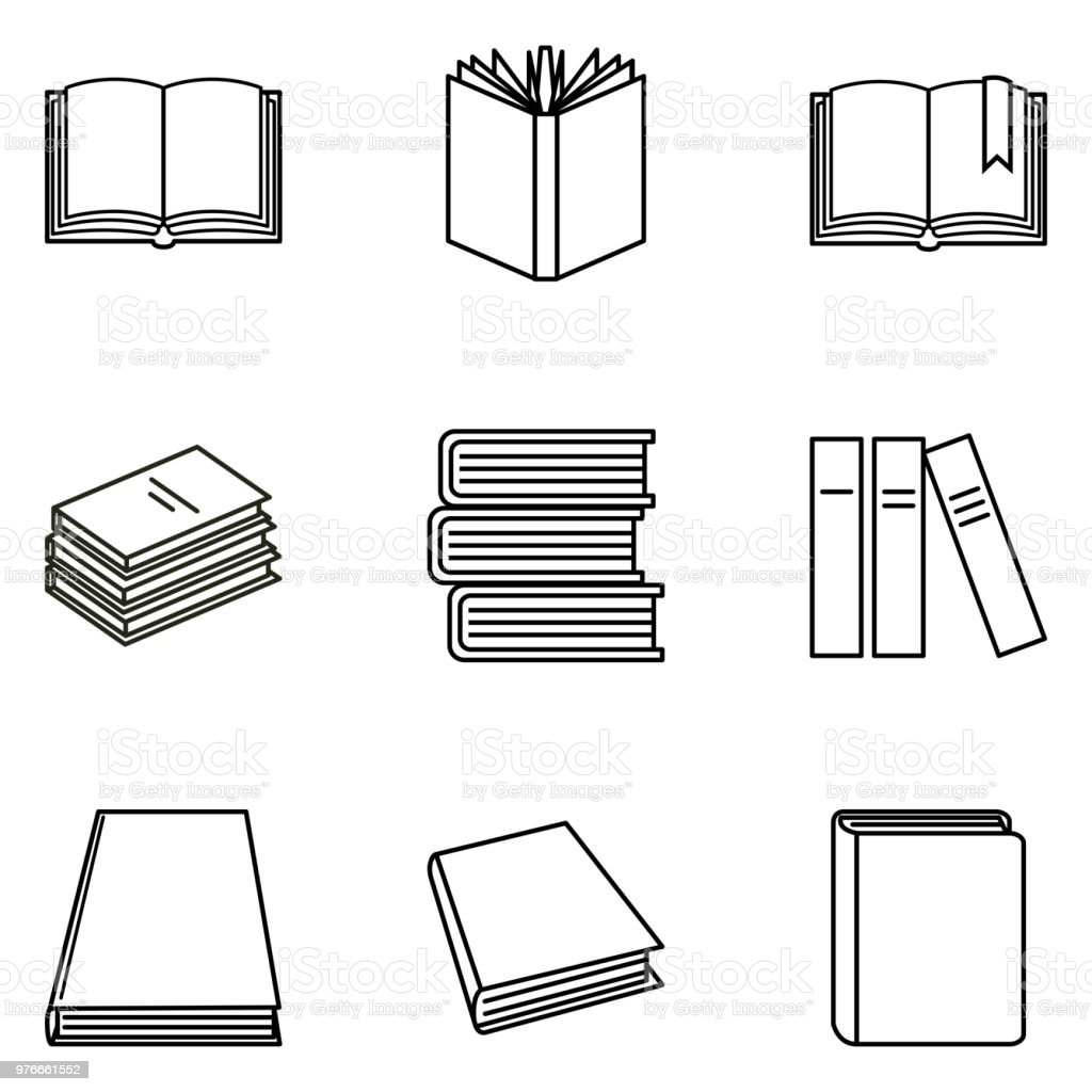 Vector Set of Black Outline Book Icons. vector art illustration