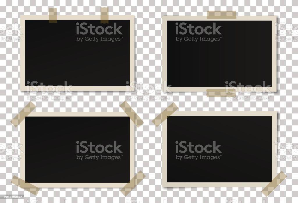 Vector de conjunto de marcos de fotos negro - ilustración de arte vectorial