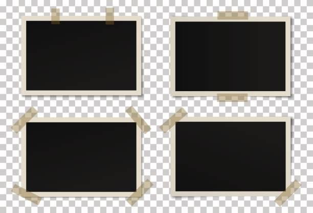 ilustraciones, imágenes clip art, dibujos animados e iconos de stock de vector de conjunto de marcos de fotos negro - bordes de marcos de fotografías