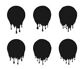 Vector Set of Black Round Liquid Spots or Stains with Drops and Trickles